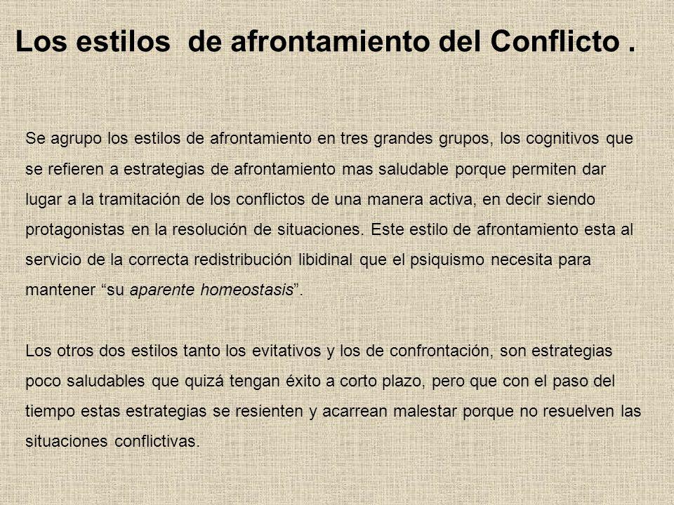 Los estilos de afrontamiento del Conflicto .