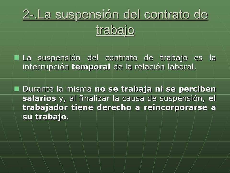 2-.La suspensión del contrato de trabajo