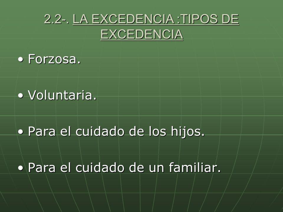 2.2-. LA EXCEDENCIA :TIPOS DE EXCEDENCIA
