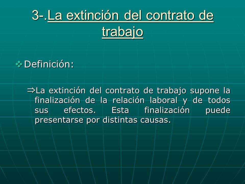 3-.La extinción del contrato de trabajo