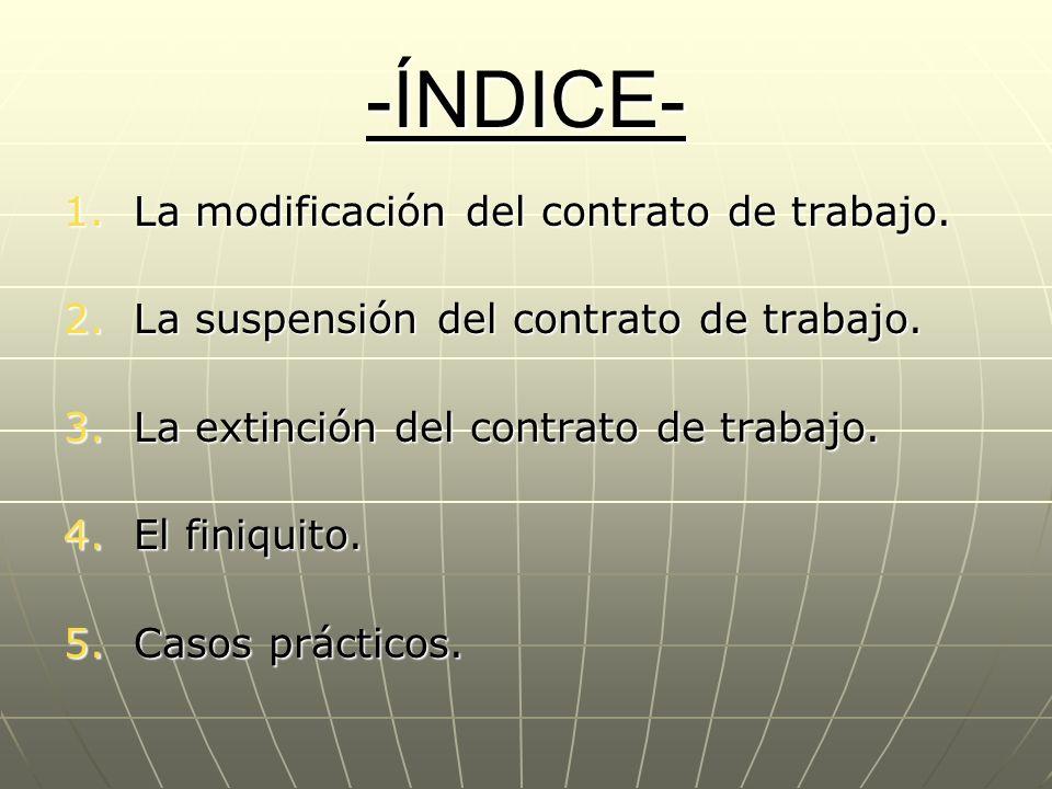 -ÍNDICE- La modificación del contrato de trabajo.