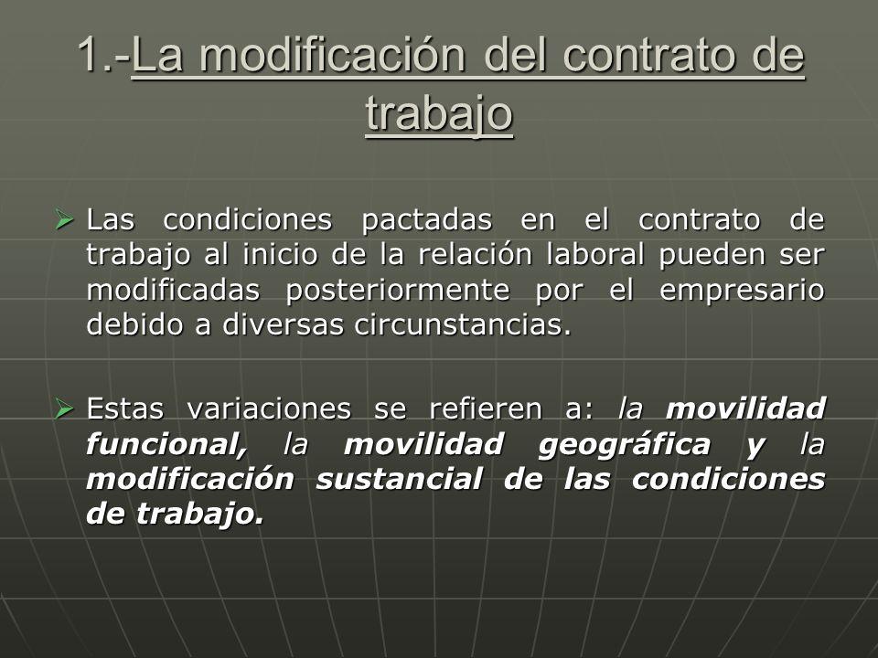1.-La modificación del contrato de trabajo
