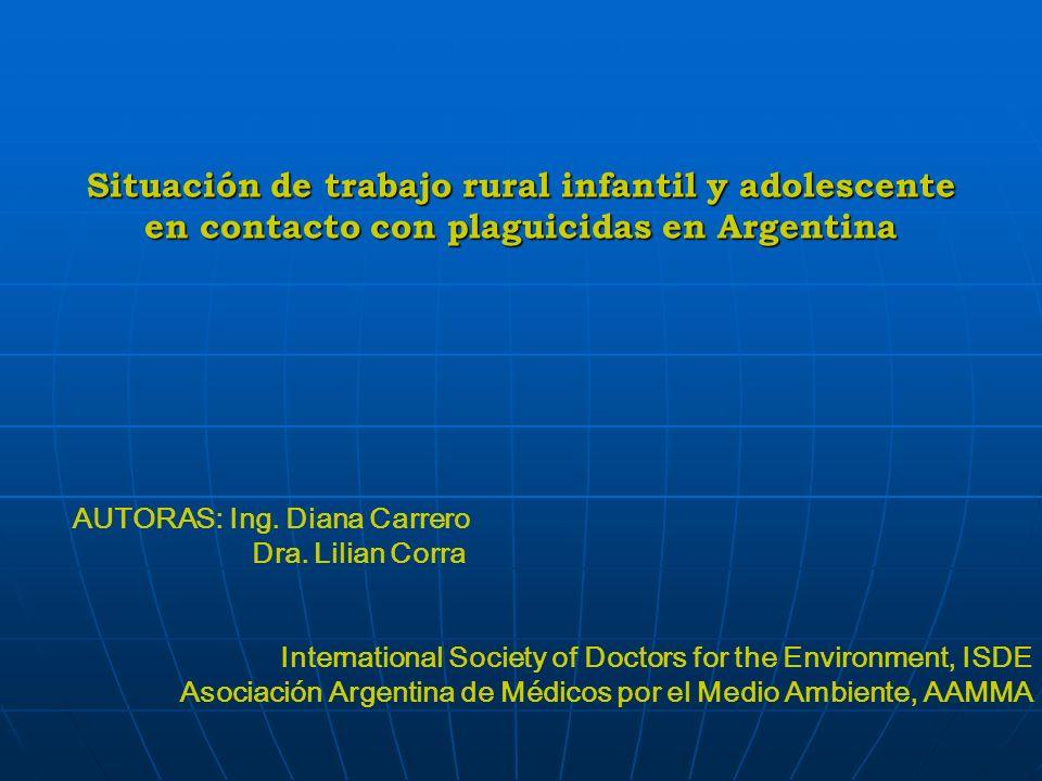 Situación de trabajo rural infantil y adolescente en contacto con plaguicidas en Argentina