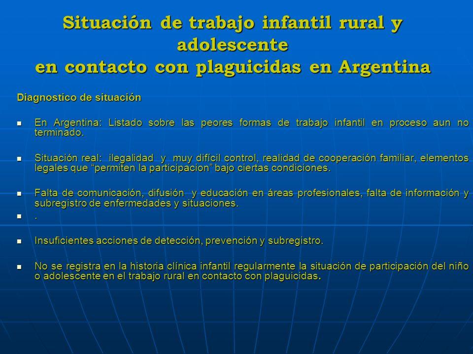 Situación de trabajo infantil rural y adolescente en contacto con plaguicidas en Argentina