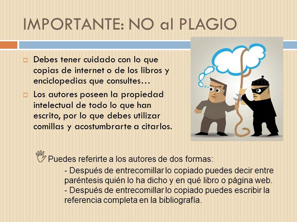IMPORTANTE: NO al PLAGIO
