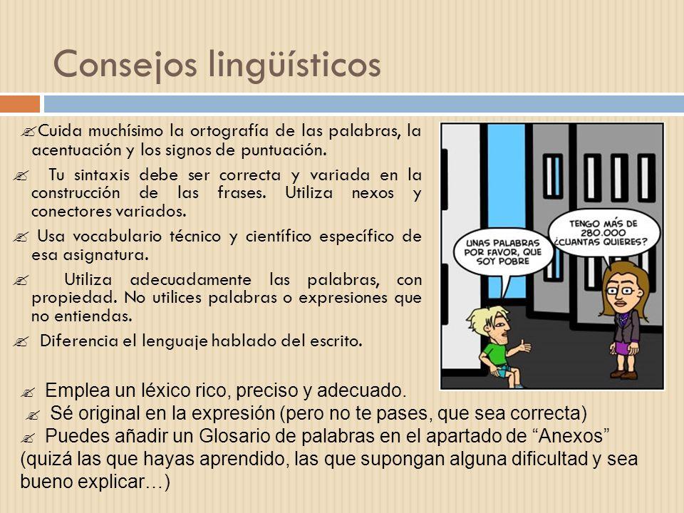 Consejos lingüísticos