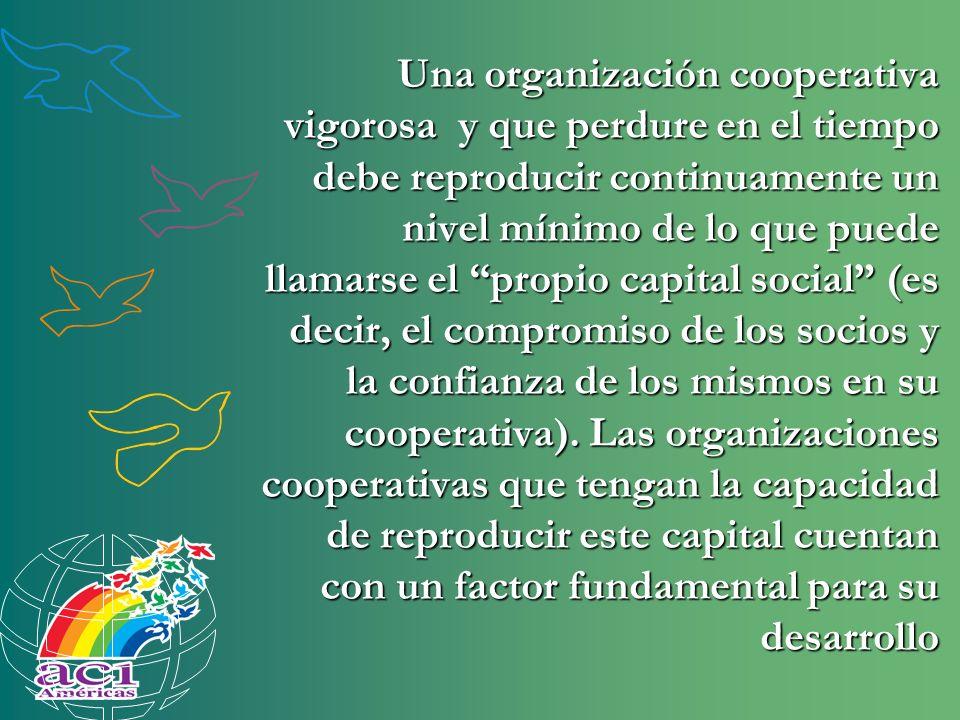 Una organización cooperativa vigorosa y que perdure en el tiempo debe reproducir continuamente un nivel mínimo de lo que puede llamarse el propio capital social (es decir, el compromiso de los socios y la confianza de los mismos en su cooperativa).