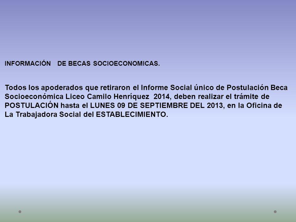 POSTULACIÓN hasta el LUNES 09 DE SEPTIEMBRE DEL 2013, en la Oficina de