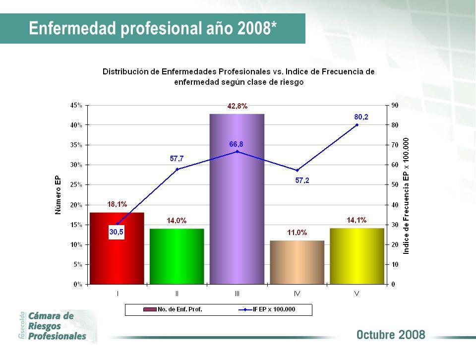 Enfermedad profesional año 2008*