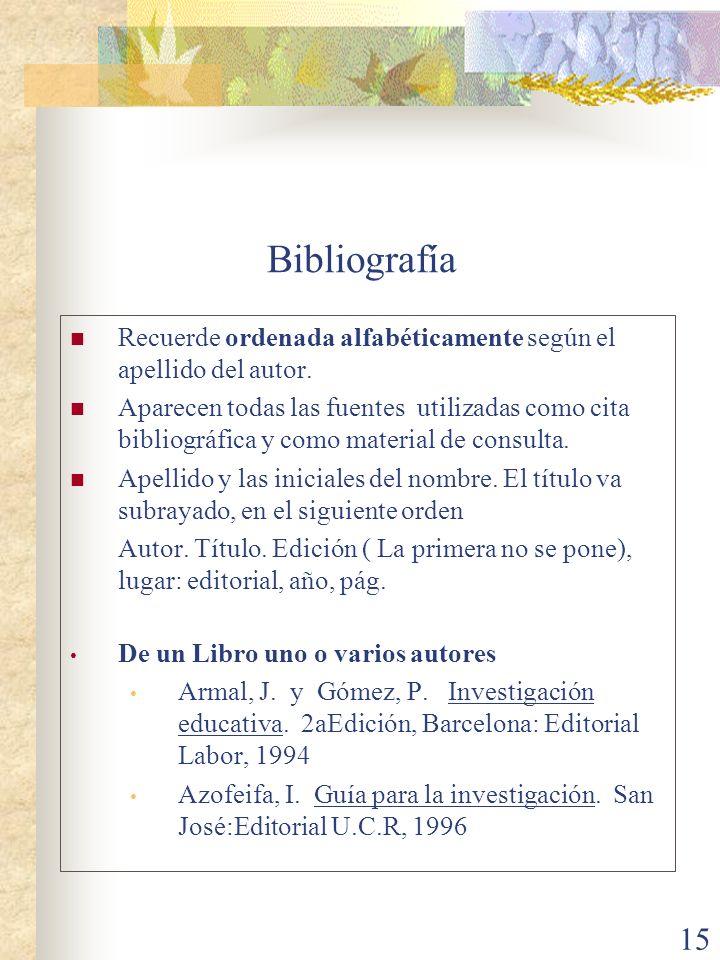 Bibliografía Recuerde ordenada alfabéticamente según el apellido del autor.