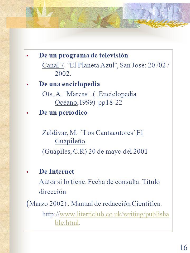 (Marzo 2002) . Manual de redacción Científica.