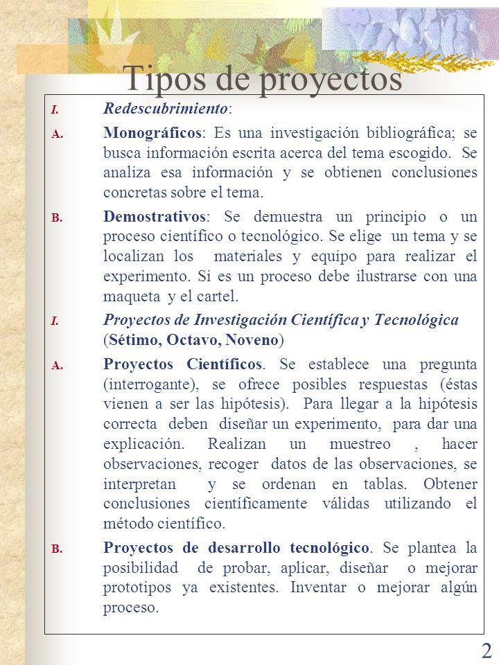 Tipos de proyectos Redescubrimiento: