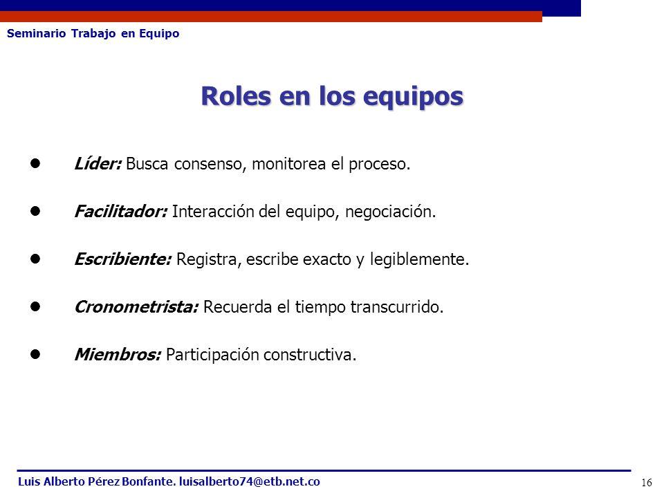 Roles en los equipos Líder: Busca consenso, monitorea el proceso.