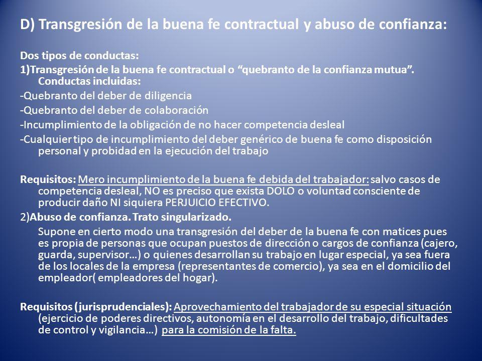 D) Transgresión de la buena fe contractual y abuso de confianza: