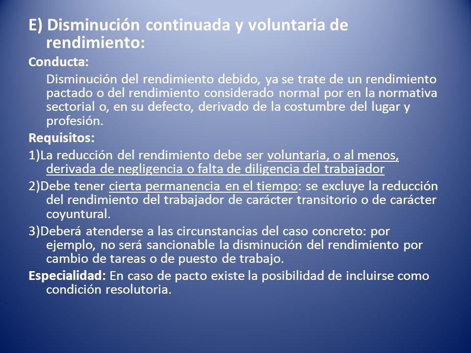 E) Disminución continuada y voluntaria de rendimiento: