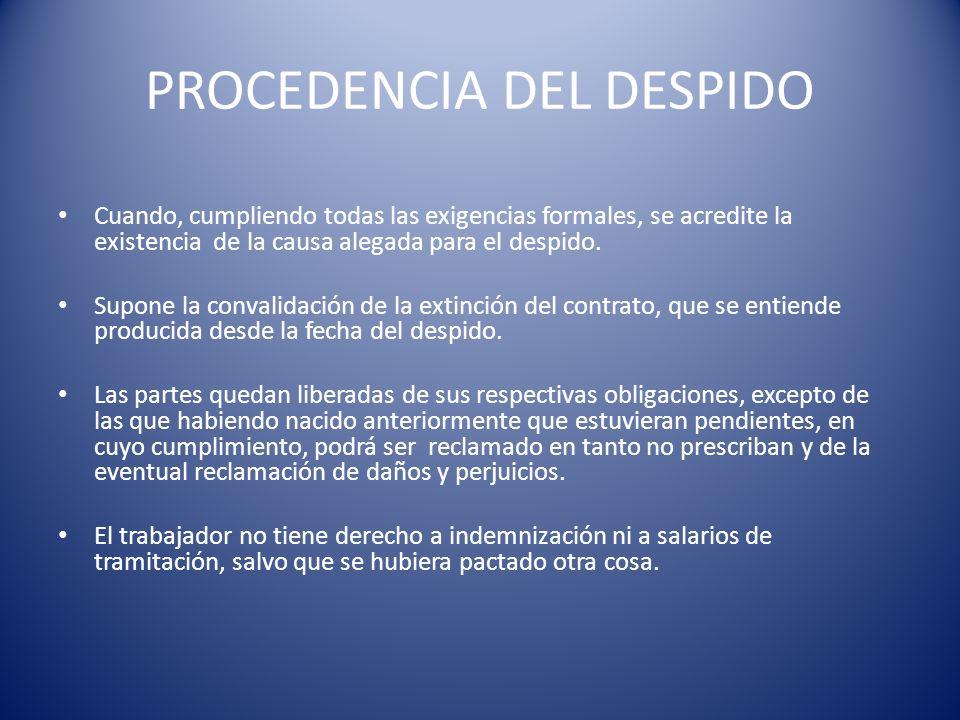PROCEDENCIA DEL DESPIDO