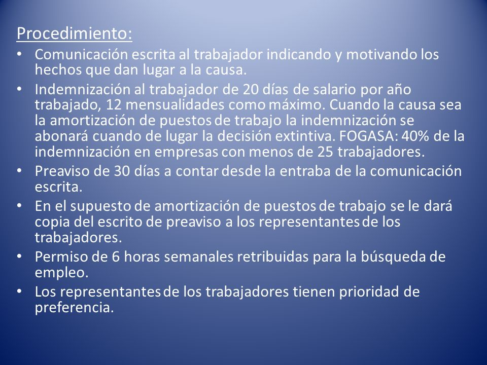 Procedimiento: Comunicación escrita al trabajador indicando y motivando los hechos que dan lugar a la causa.