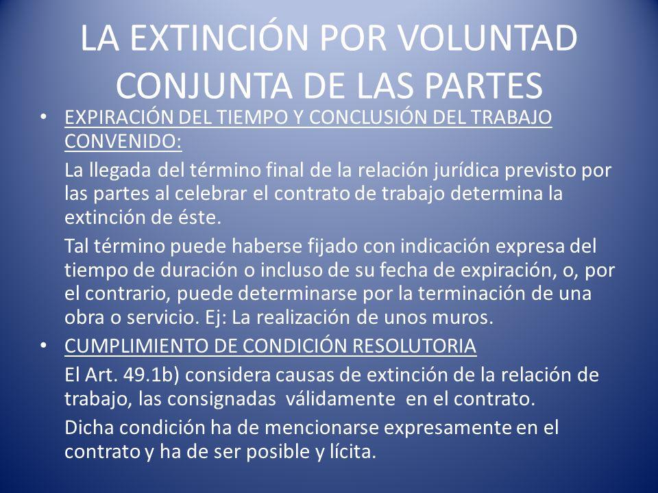 LA EXTINCIÓN POR VOLUNTAD CONJUNTA DE LAS PARTES