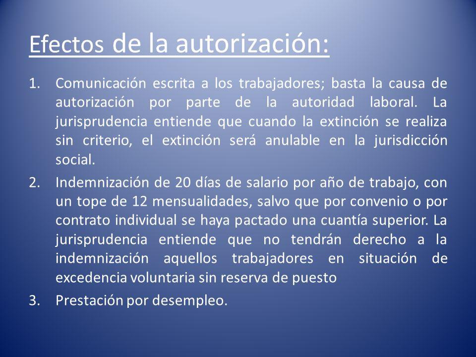 Efectos de la autorización: