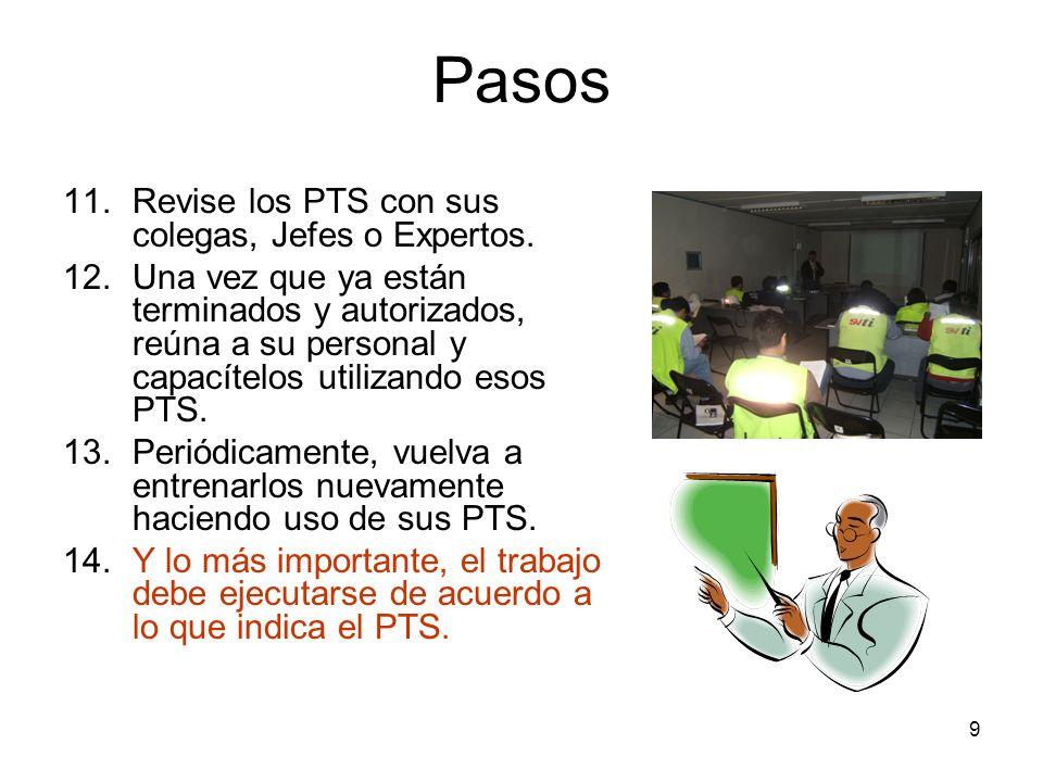 Pasos Revise los PTS con sus colegas, Jefes o Expertos.