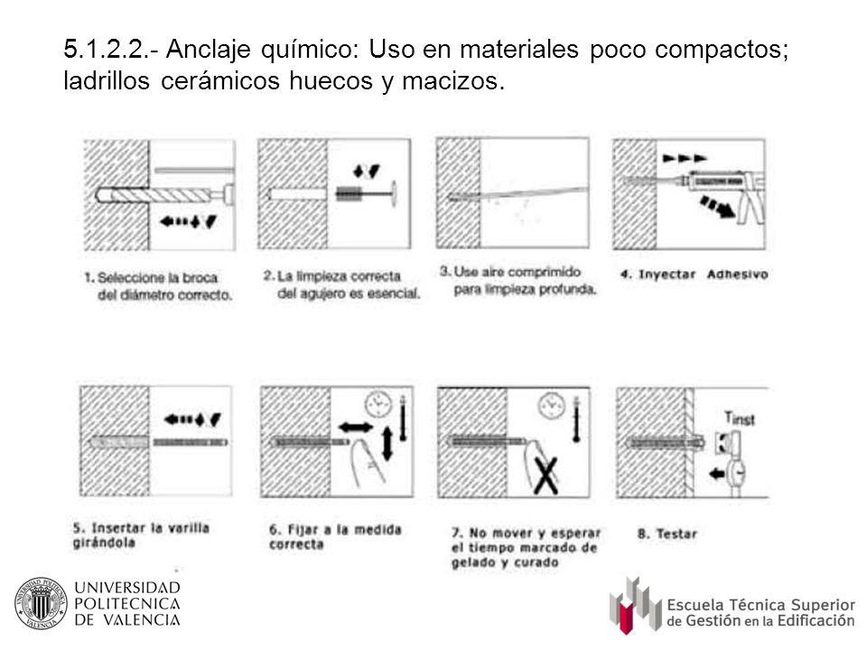 5.1.2.2.- Anclaje químico: Uso en materiales poco compactos; ladrillos cerámicos huecos y macizos.