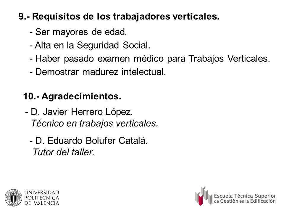 9.- Requisitos de los trabajadores verticales.