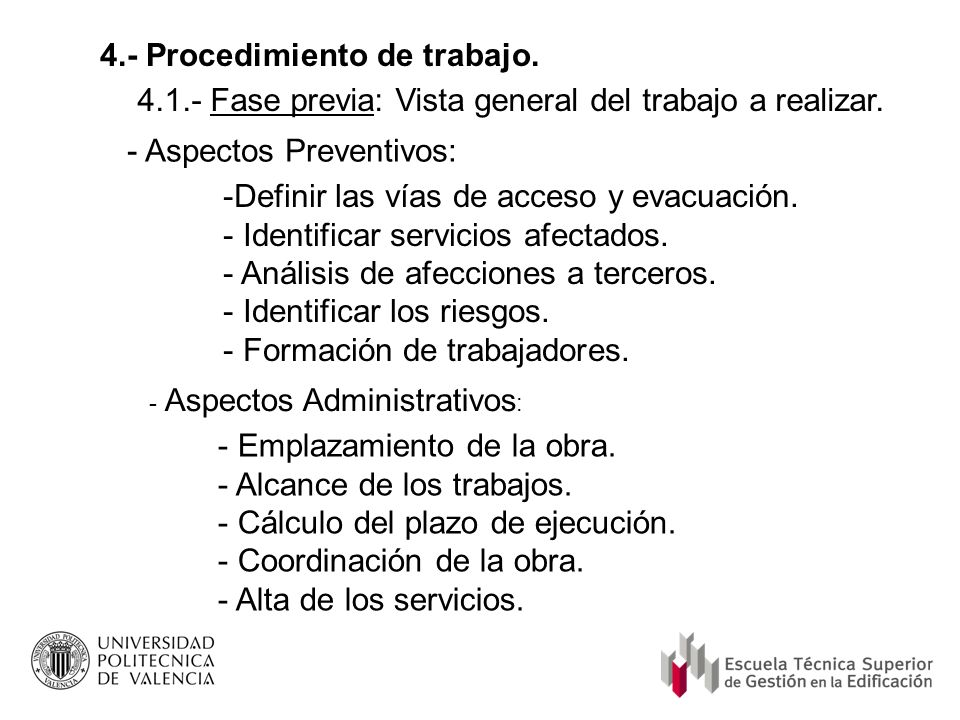 4.- Procedimiento de trabajo.