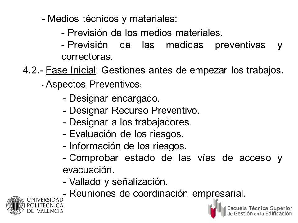 - Medios técnicos y materiales: Previsión de los medios materiales.