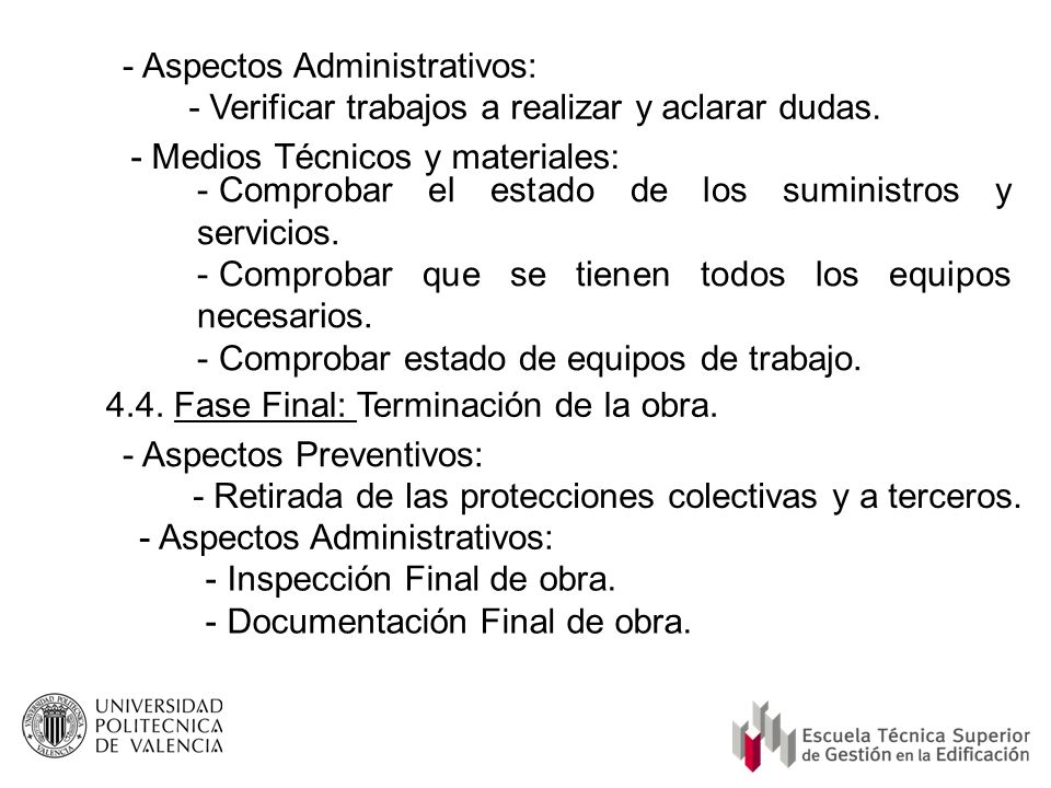 - Aspectos Administrativos: