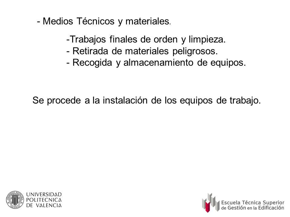 - Medios Técnicos y materiales.
