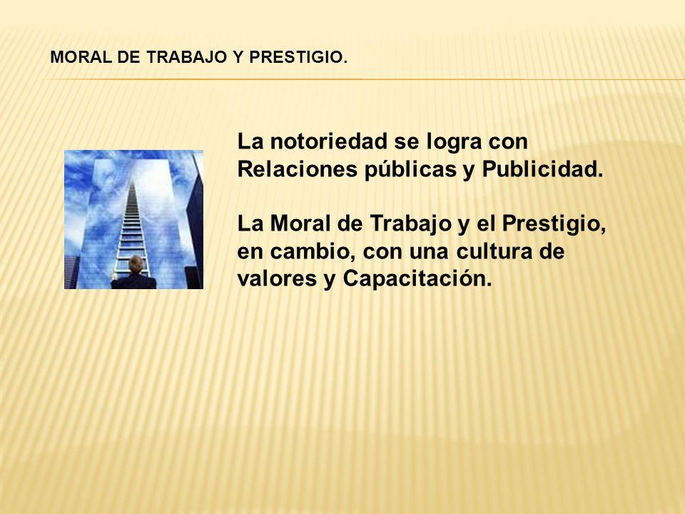 La notoriedad se logra con Relaciones públicas y Publicidad.