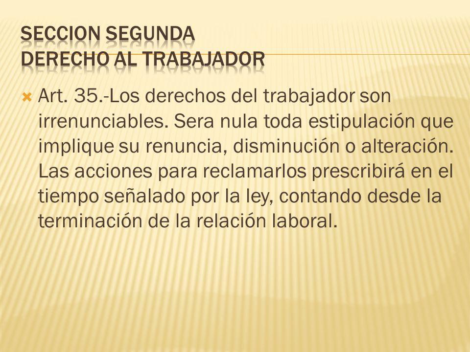 SECCION SEGUNDA DERECHO AL TRABAJADOR