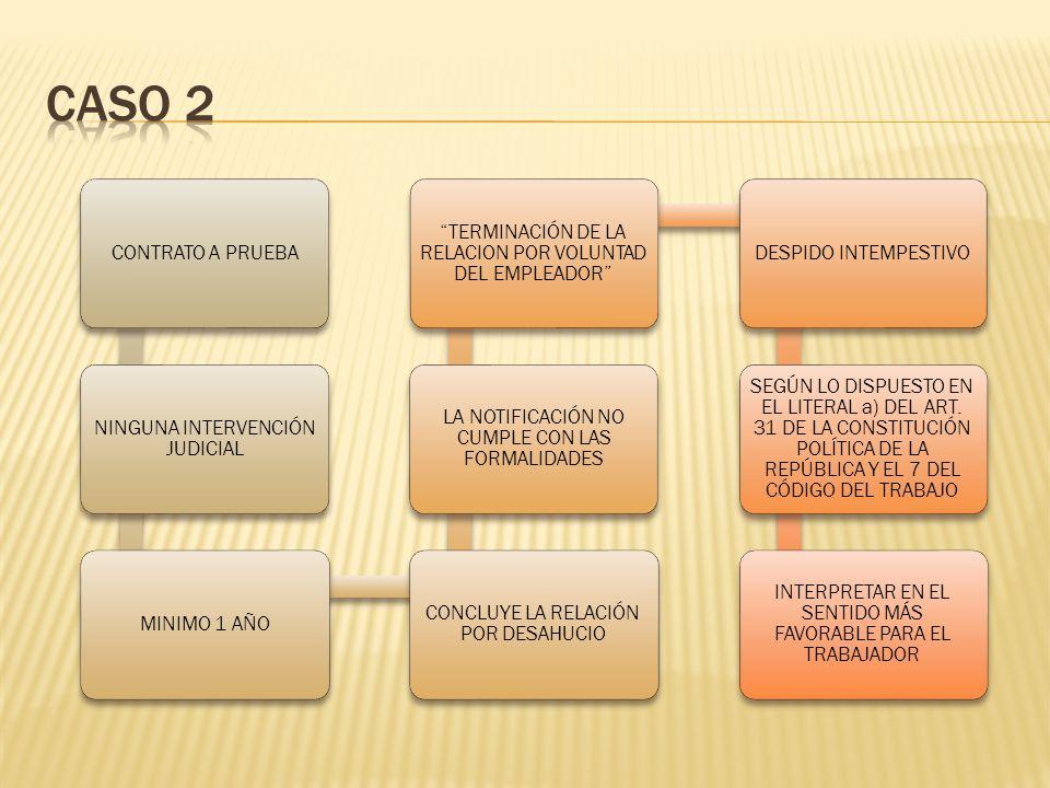 CASO 2 CONTRATO A PRUEBA NINGUNA INTERVENCIÓN JUDICIAL MINIMO 1 AÑO