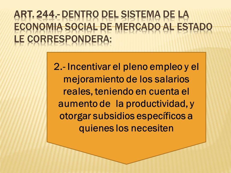 ART. 244.- DENTRO DEL SISTEMA DE LA ECONOMIA SOCIAL DE MERCADO AL ESTADO LE CORRESPONDERA: