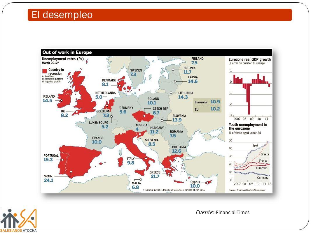 El desempleo Fuente: Financial Times