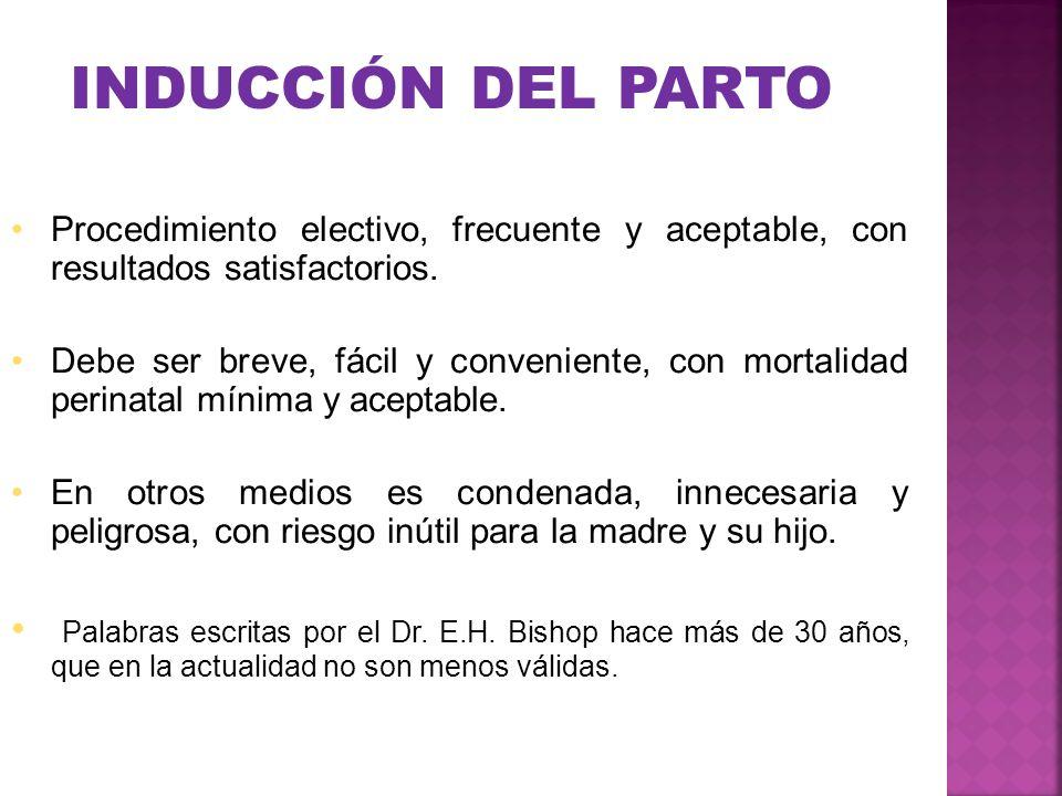 INDUCCIÓN DEL PARTO Procedimiento electivo, frecuente y aceptable, con resultados satisfactorios.