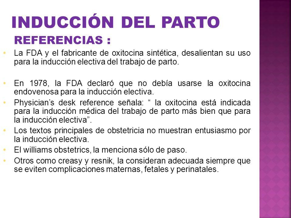 INDUCCIÓN DEL PARTO REFERENCIAS :