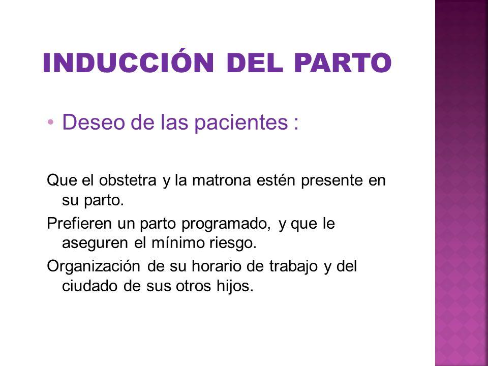 INDUCCIÓN DEL PARTO Deseo de las pacientes :