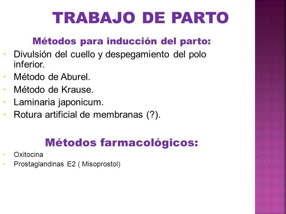 TRABAJO DE PARTO Métodos farmacológicos: