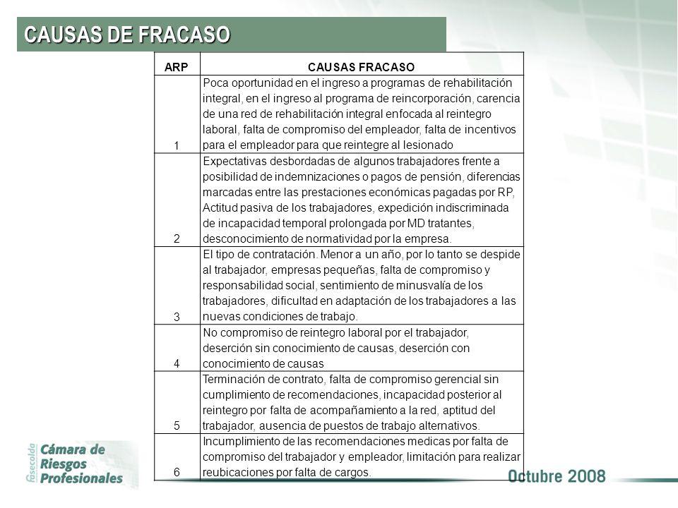 CAUSAS DE FRACASO ARP CAUSAS FRACASO 1
