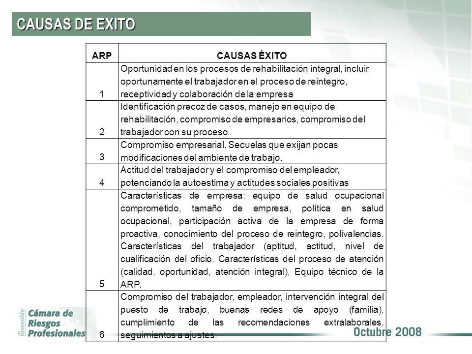 CAUSAS DE EXITO ARP CAUSAS ÉXITO 1
