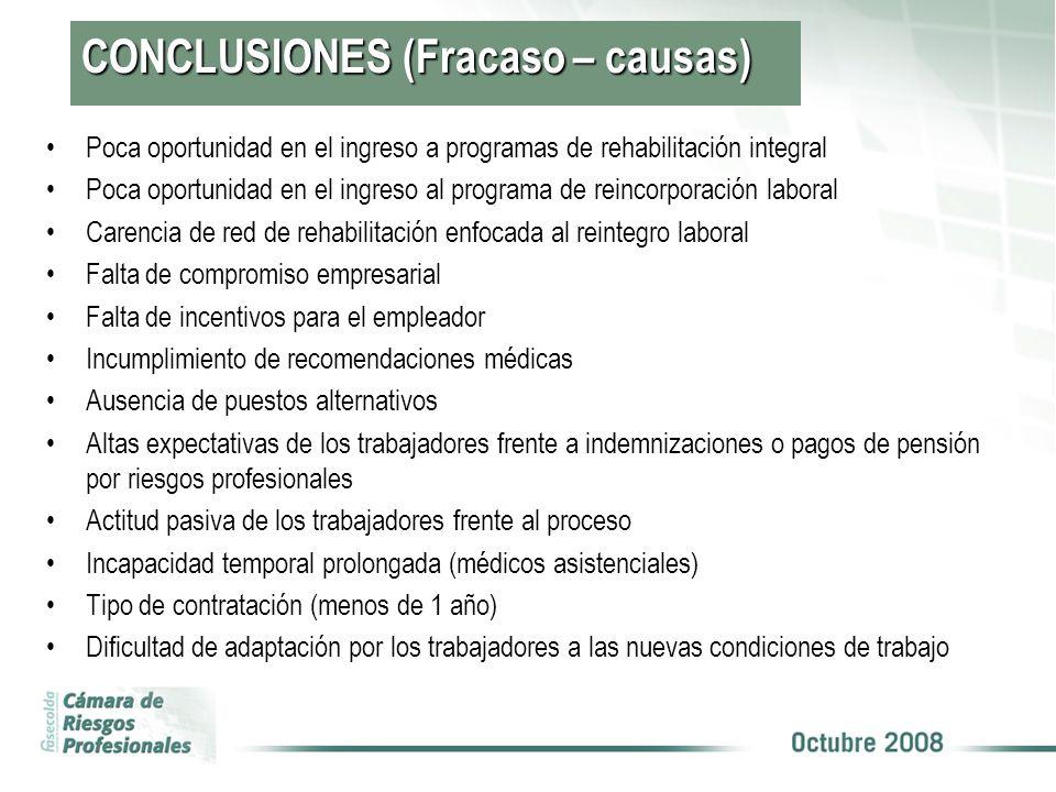 CONCLUSIONES (Fracaso – causas)