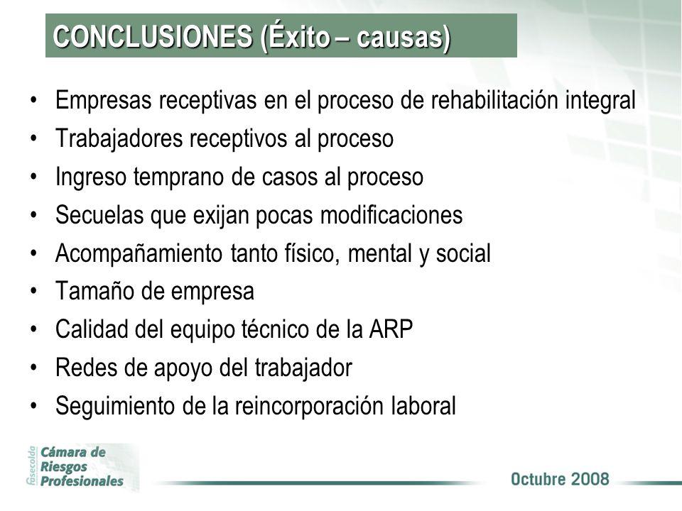 CONCLUSIONES (Éxito – causas)
