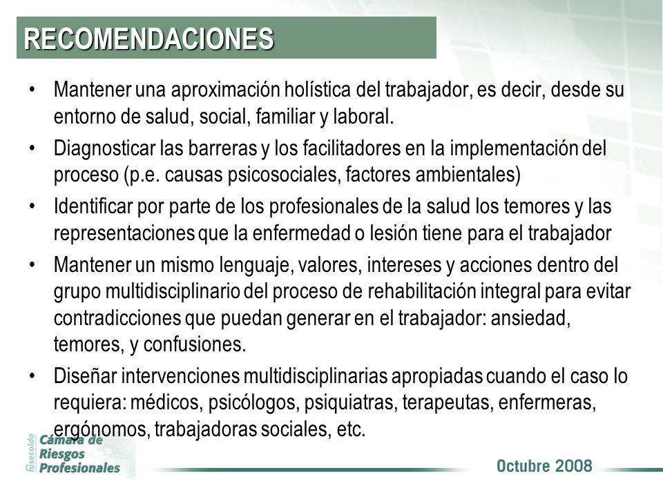 RECOMENDACIONES Mantener una aproximación holística del trabajador, es decir, desde su entorno de salud, social, familiar y laboral.