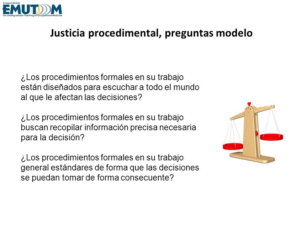 Justicia procedimental, preguntas modelo