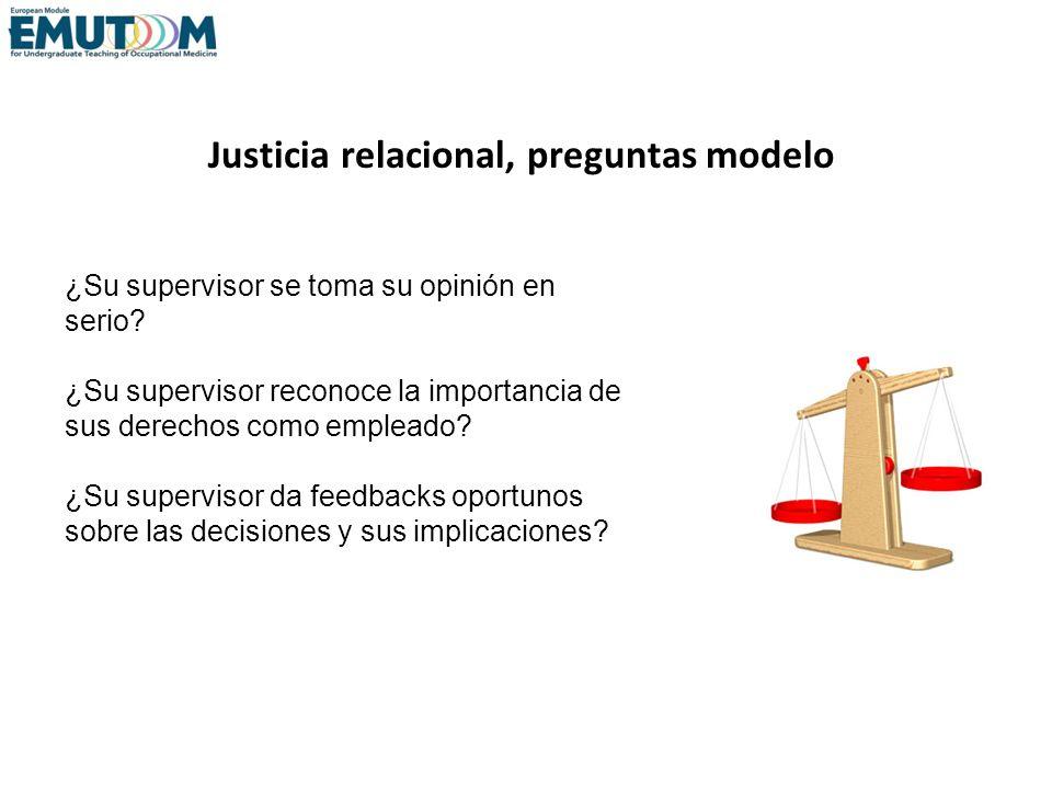 Justicia relacional, preguntas modelo
