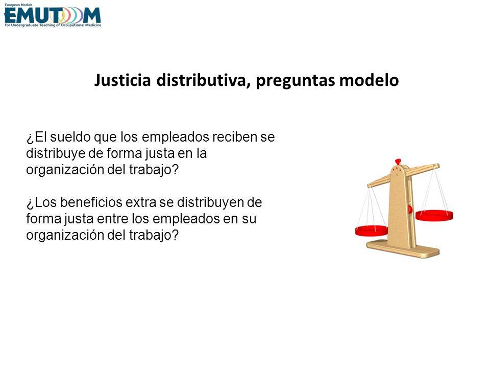 Justicia distributiva, preguntas modelo