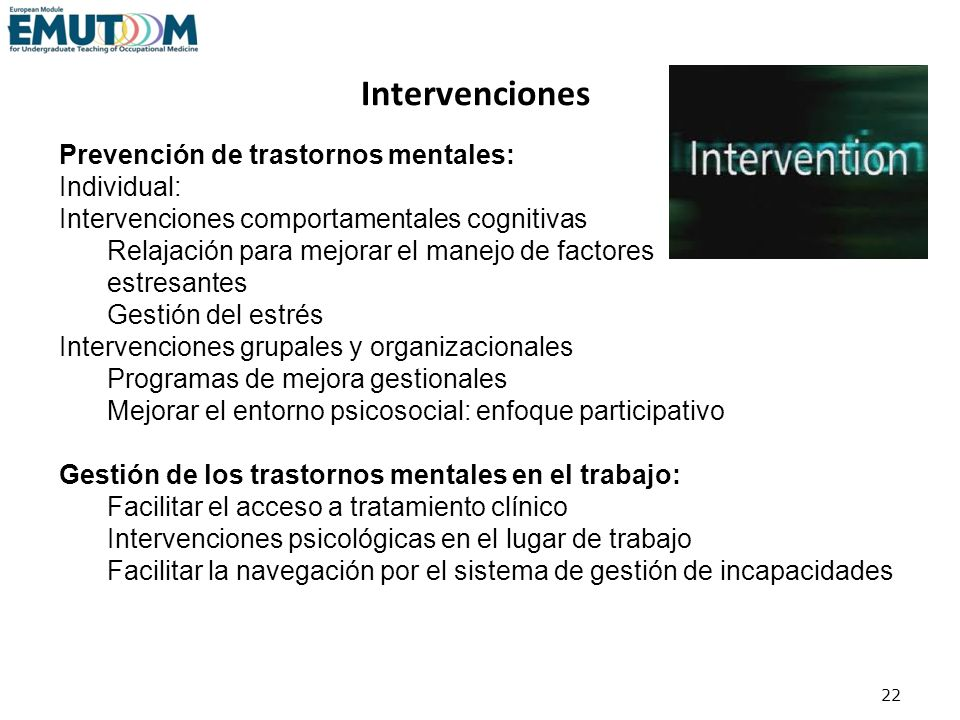Intervenciones Prevención de trastornos mentales: Individual: