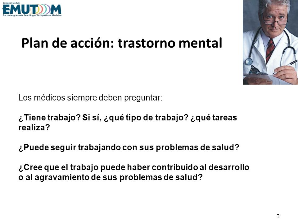 Plan de acción: trastorno mental