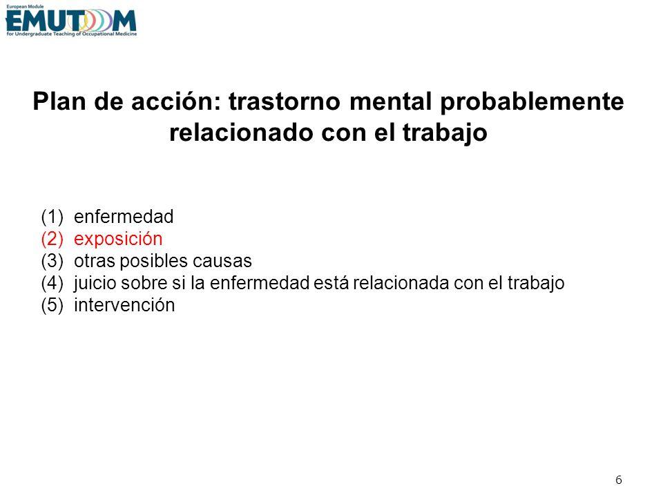 Plan de acción: trastorno mental probablemente relacionado con el trabajo